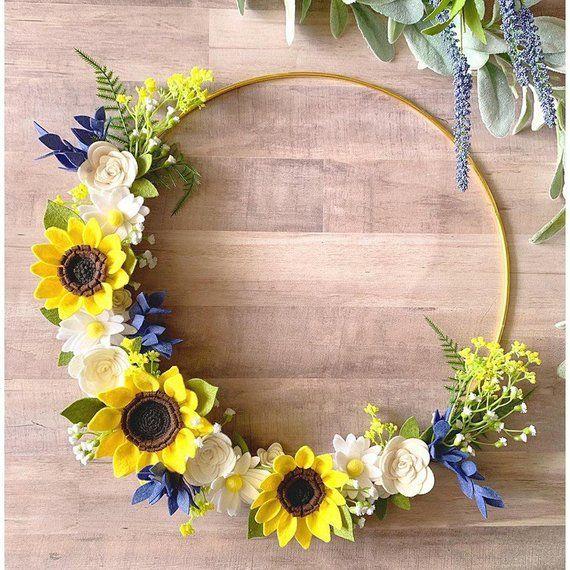 Photo of Felt sunflower wreath, sunflower wreath, hoop wreath