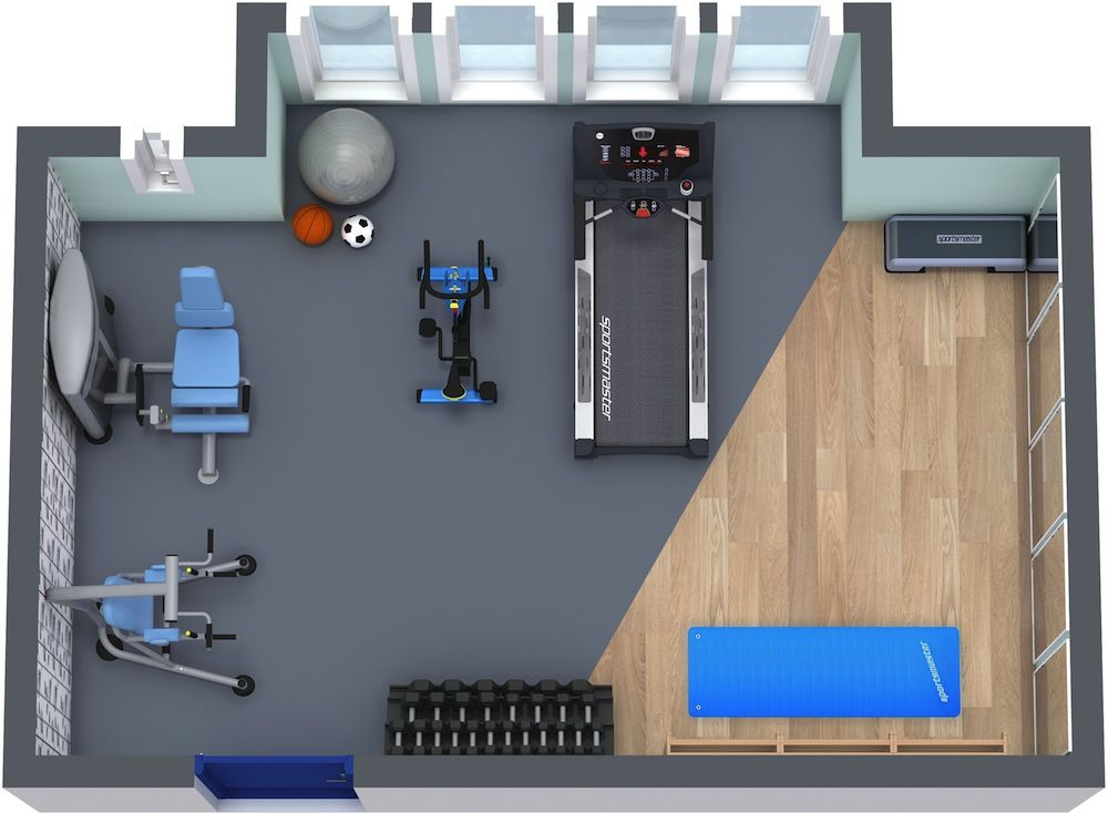 Roomsketcher home gym floor plan home gym pinterest gym workout rooms and basements - Basement design tool ...