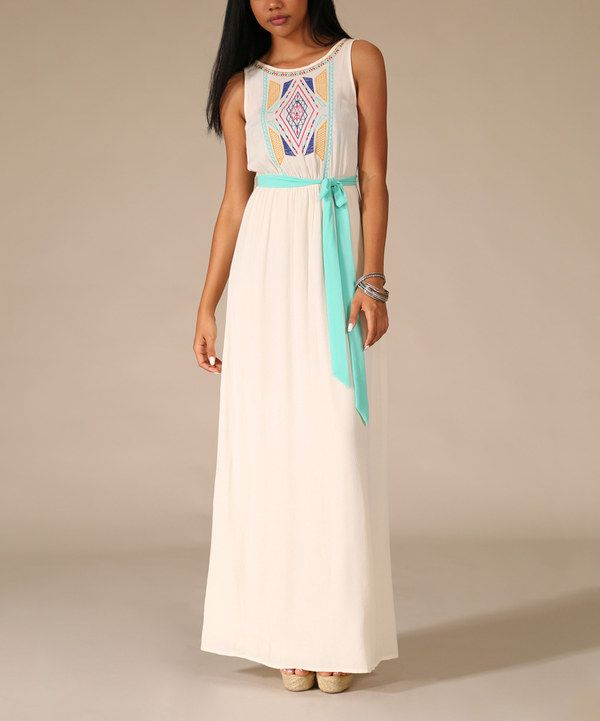 Look at this Ivory & Mint Diamond Embroidered Maxi Dress on #zulily today!
