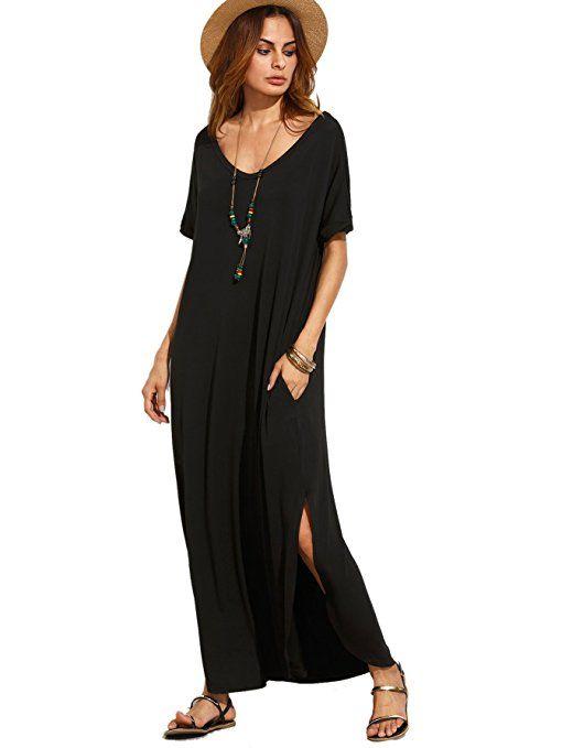 fd71860024 MakeMeChic Women's Casual Loose Pocket Long Dress Short Sleeve Split Maxi  Dress Black XS