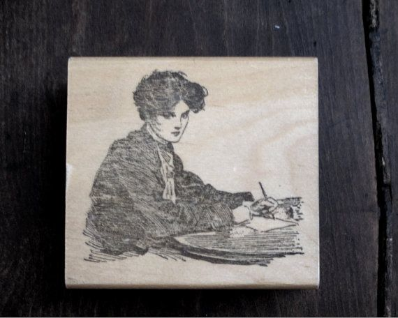 Vintage Victorian Woman Writer Rubber Stamp  by FunkyJunkyGypsy