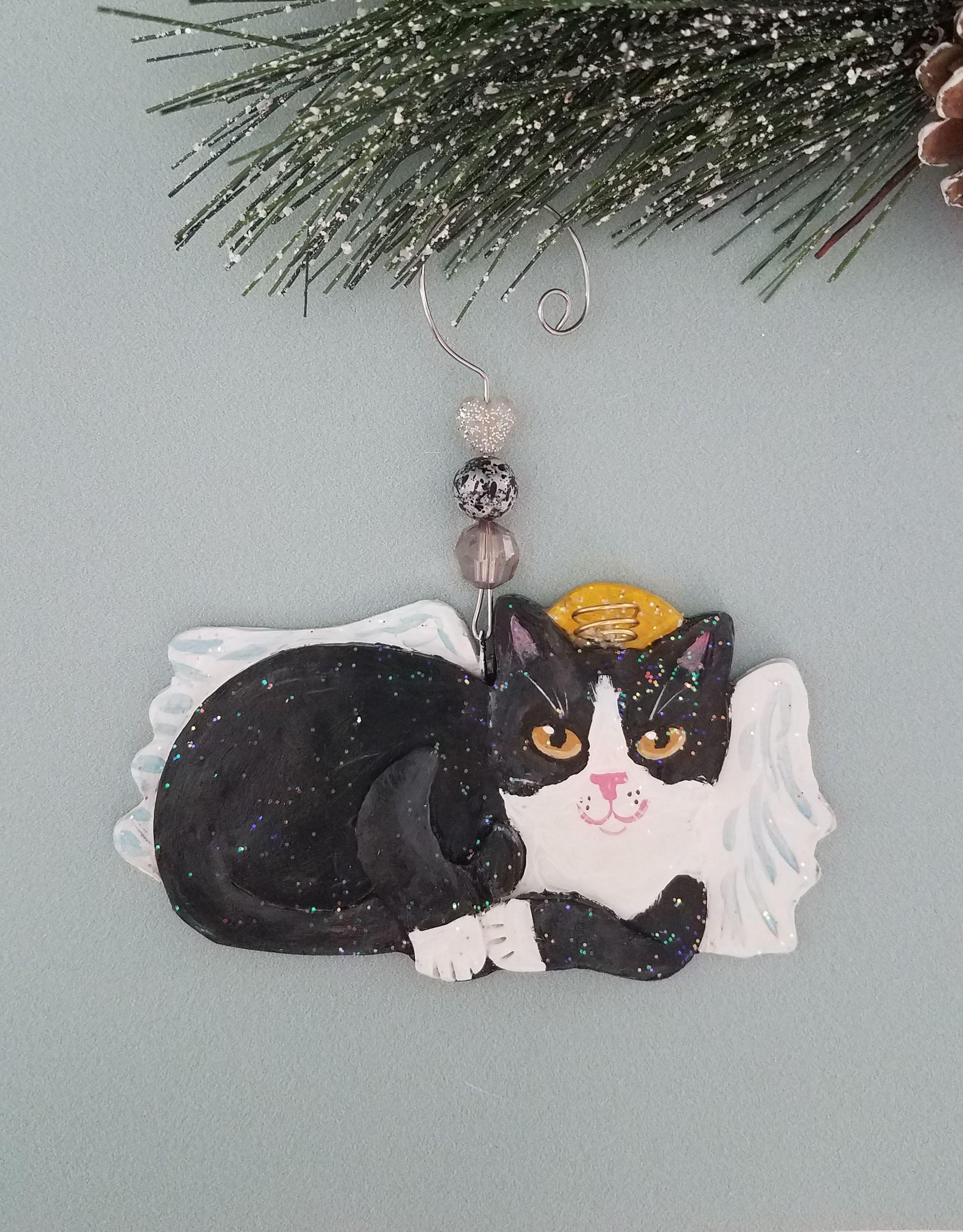 Handcrafted Tuxedo Cat Angel Ornament Dibujos Gatos Arte