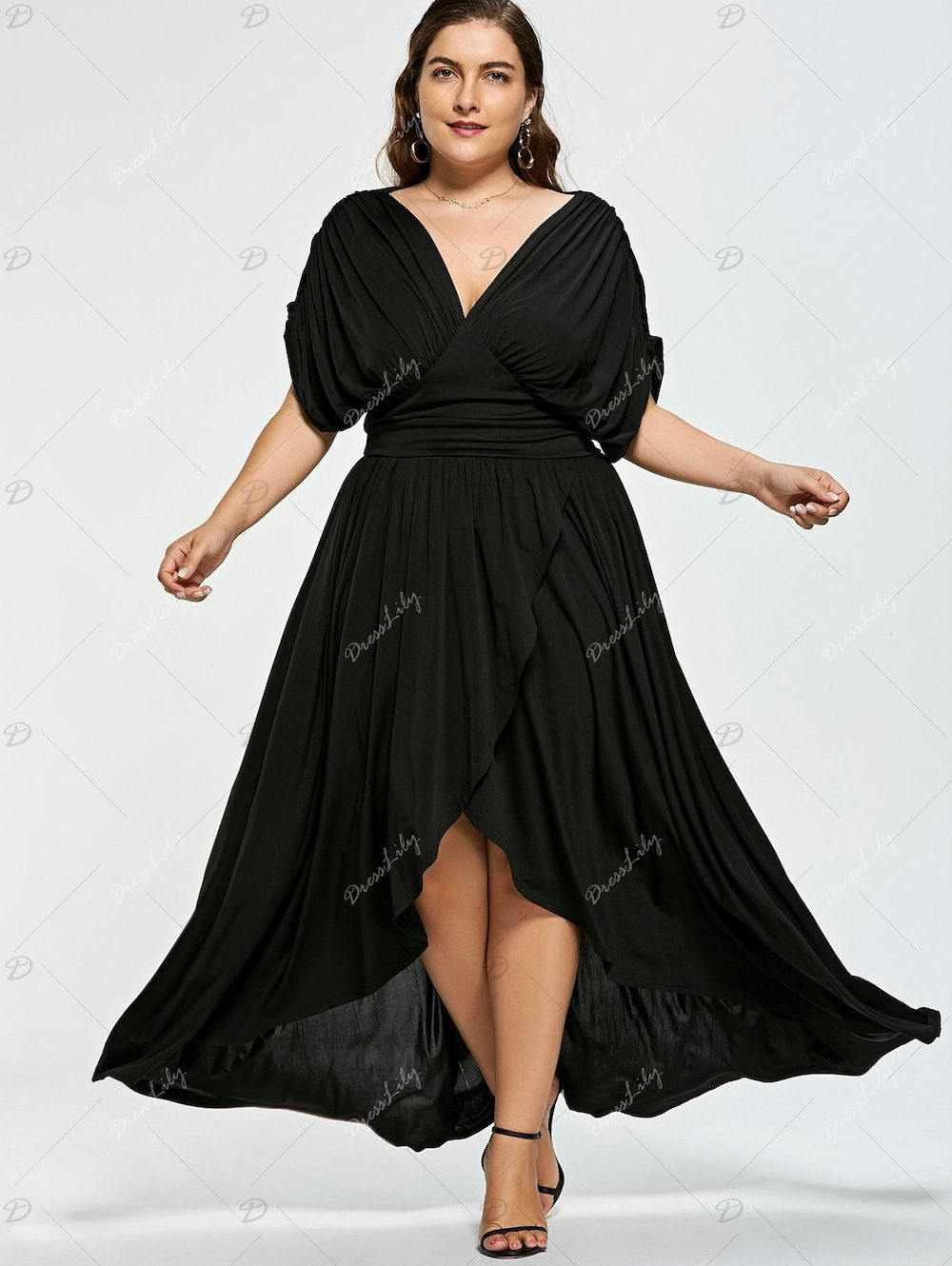 bd1a1cff3d4 Plus Size Empire Wasit High Low Prom Dress - BLACK 3XL