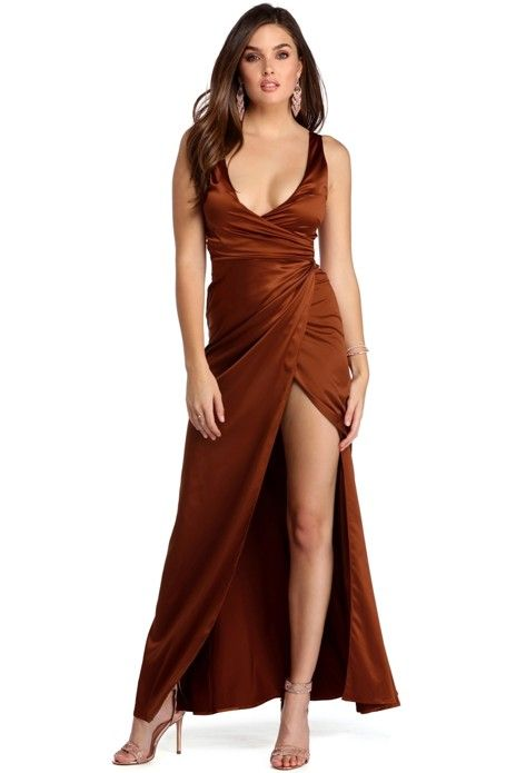 Alyssa Rust Satin Formal Wrap Dress Wrap Dresses Rust And Satin