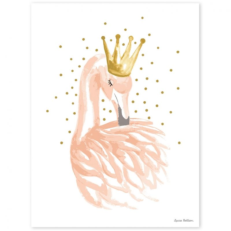 L'affiche flamant rose et étoiles Flamingo by Lucie Bellion pour Lilipinso aux tonalités de rose et de doré apporte un décor chic à la chambre d'une petite fille.