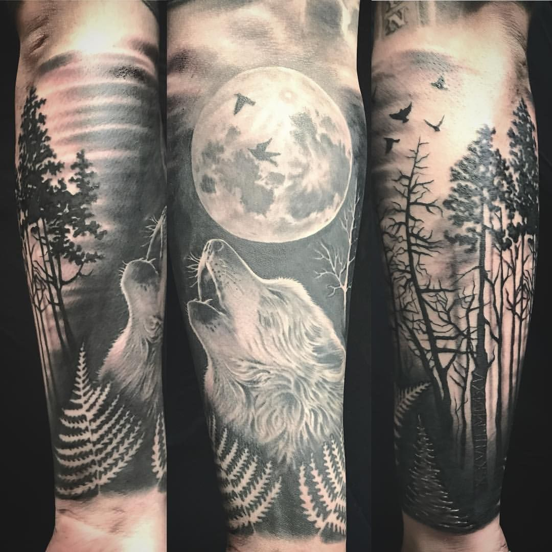 Wolf In The Forest Half Sleeve Tattoo Wolf Forest Tattoos