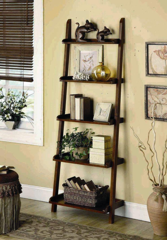 5 Tier Leaning Shelf Shelf Decor Living Room Ladder Shelf