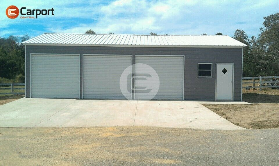 The Pictured Building Is A24 W X 35 L X 10 H Side Parking Garage Featured Is A Vertical Roof Horizon Metal Garage Buildings Metal Buildings Garage Door Types