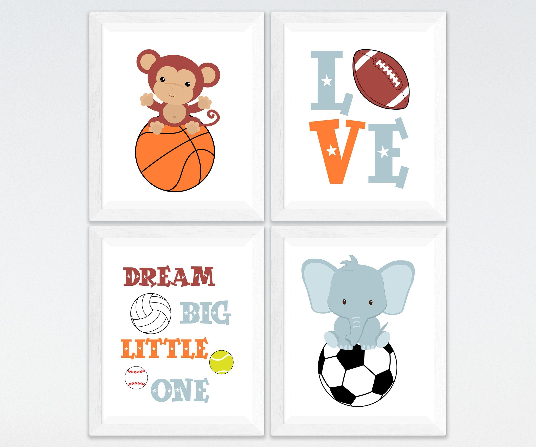 Sports Nursery Printable Art Set Boy Room Elephant Monkey