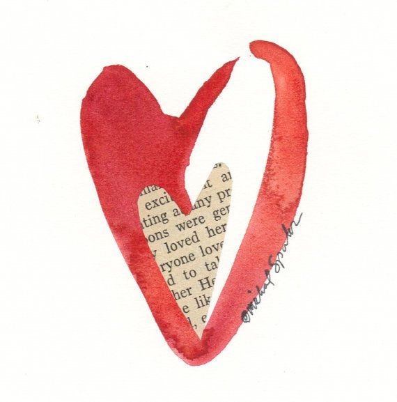 Watercolor Heart Art Original Valentine Painting by ACleverHeart