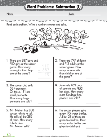 Word Problem Fun: 3-Digit Subtraction at the Game | Second Grade ...
