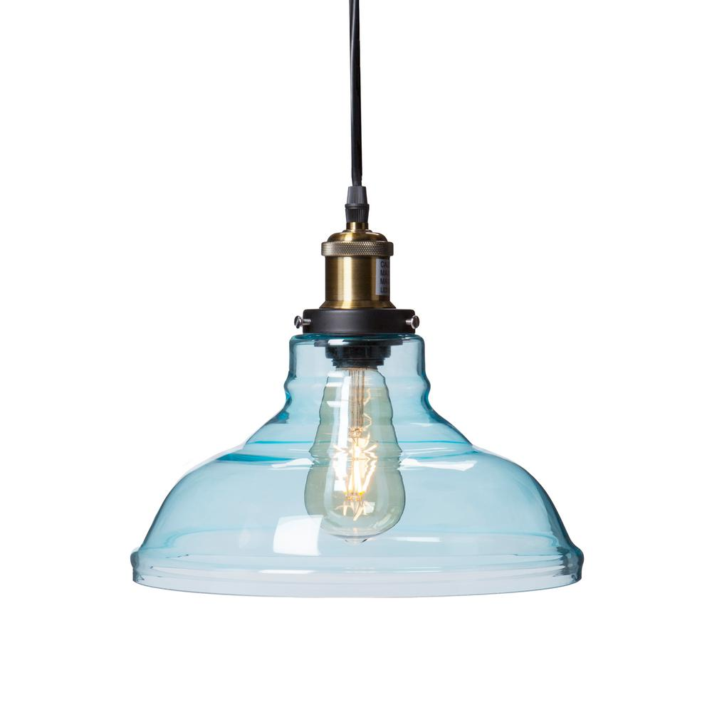 Witten 1 Light Soft Aqua Colored Glass Pendant Lamp Hd88265