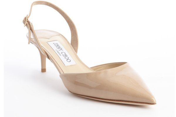 8d1e14e723e Jimmy Choo nude leather pointed toe sling backs. Cute nude kitten heels.  Perfect with boyfriend jeans and cute skirts.