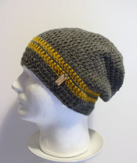 Slouchy Beanie Gray Mustard Striped Mens - Crochet Slouch Beanie ...