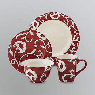 Sandra by Sandra Lee -16-Piece Dinnerware Set. How would this look in. White Dinnerware SetsEveryday ... : red white dinnerware sets - pezcame.com