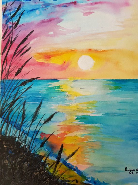 Abstract Sunset In 2020 Abstract Watercolor Tutorial Oil Pastel