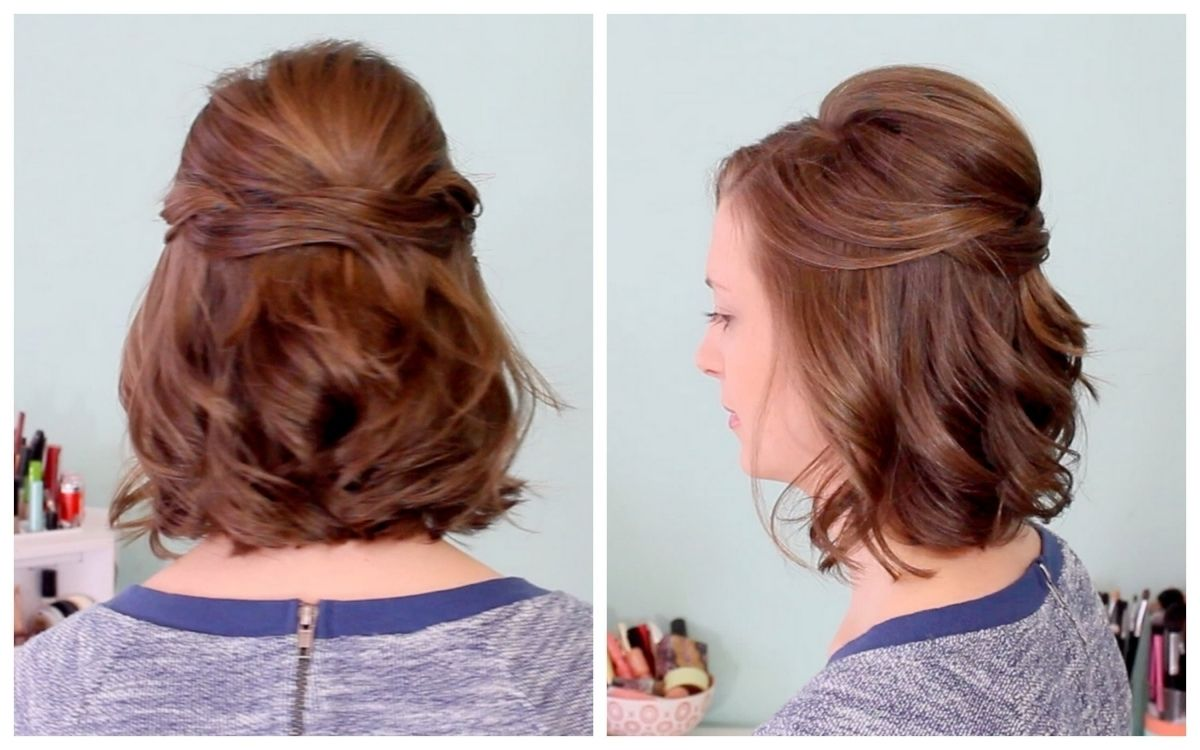 quick half up hairstyle for short hair youtube throughout