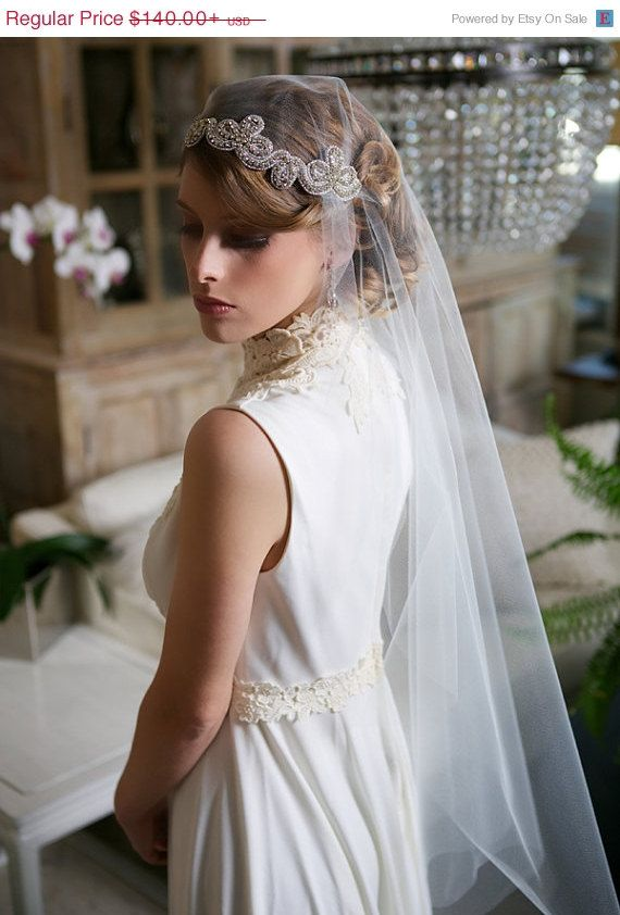 Sale Silver Crystal Juliet Cap Veil Art Deco Veil By Gildedshadows 126 00 Vintage Wedding Hair Wedding Hairstyles With Veil Wedding Veils Short