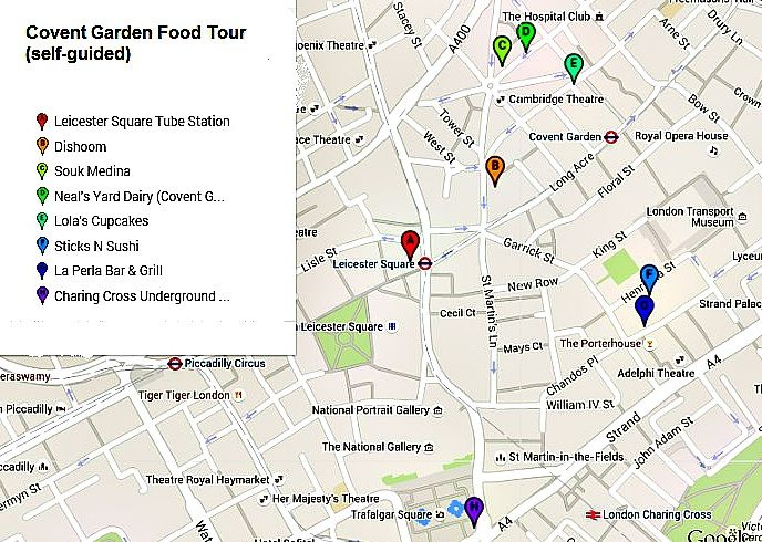 covent garden food tour map