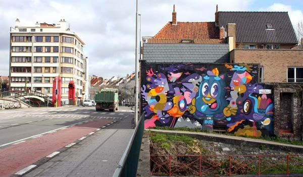 Street art in Gent, Belgium by Bue TheWarrior and Oli-B