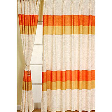 Neat pattern up close - Orange Print Contemporary Window Curtain (Two Panels) – US$ 74.99