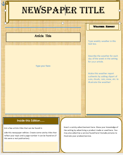 Old Time Or Ancient Front Page Newspaper Template Crosscurricular