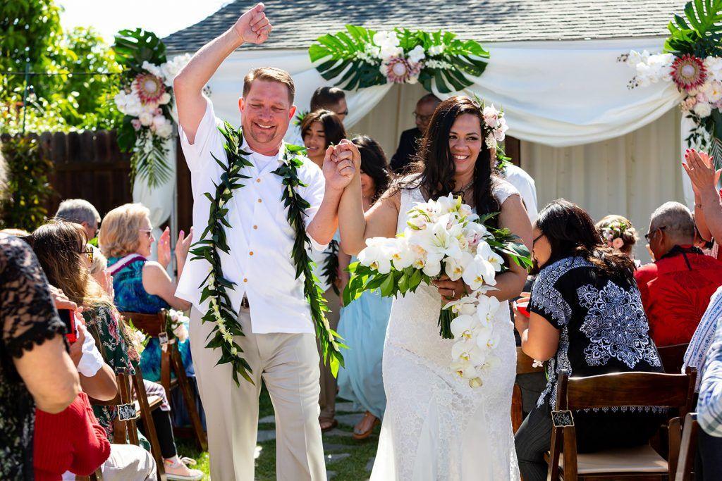 Hawaiian backyard wedding Backyard wedding, Wedding