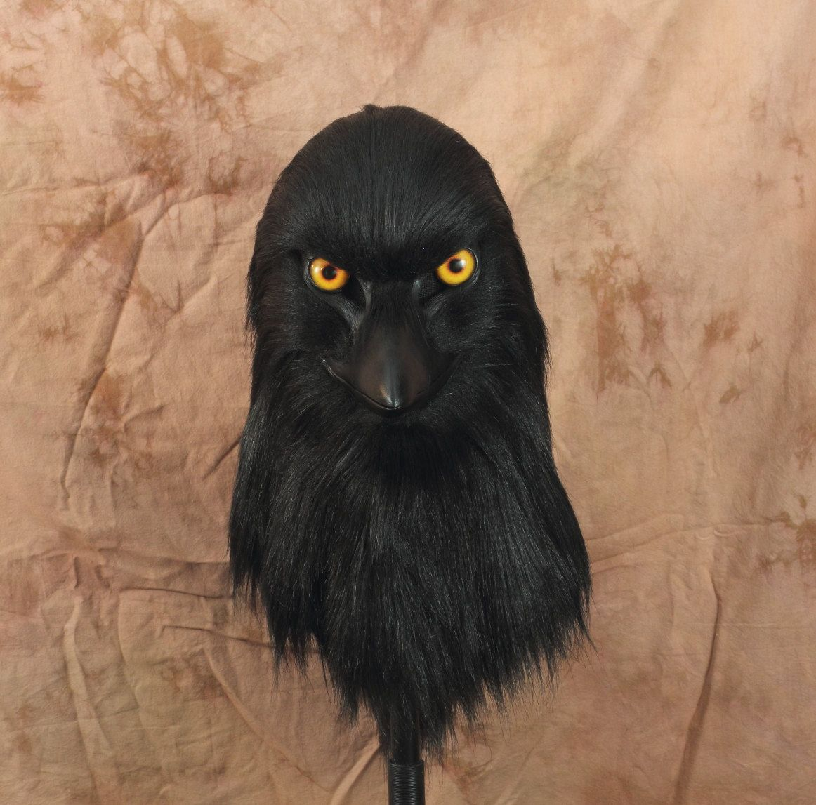 Crow Fursuit raven head realistic mask, articulated jaw, realistic ...