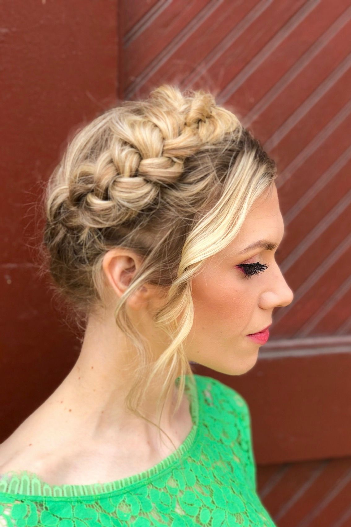 Milkmaid Braids Wavy Bangs Hairstyle Makeup By Goldplaited Braided Hairstyles Updo Hairstyles With Bangs Updo Hairstyles For Work