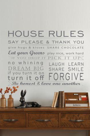 House Rules Wall Sticker from Next Decor ideas Pinterest