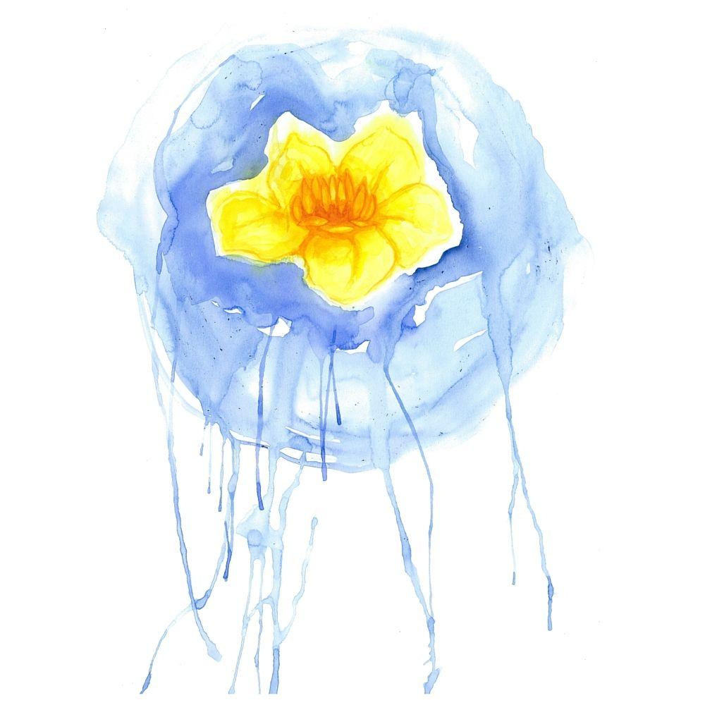 Lotus flower watercolor digital instant download printable light