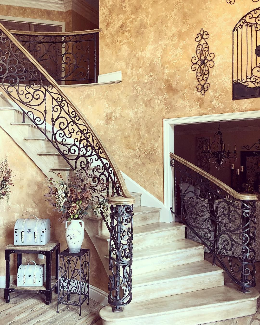 Interior iron scroll railing with painted oak top rail. #ironrailing ...