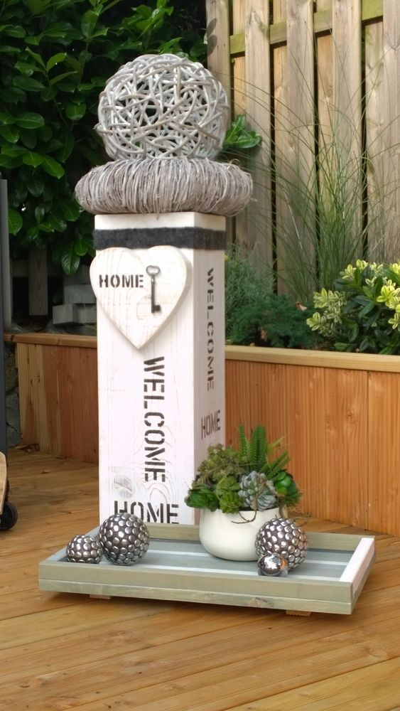 Photo of Shabby chic country style decorative wooden column / vintage / approx.72cm high 24×24 NEW i ….