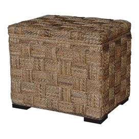 Hand Woven Abaca Storage Ottoman With Solid Mahogany Accents. Product: Storage  Ottoman Construction