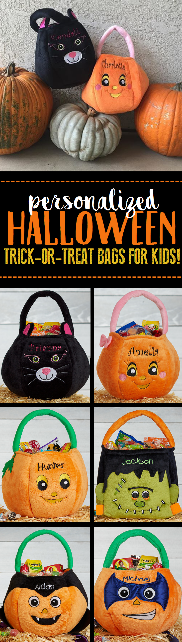 LOVE LOVE LOVE these personalized Halloween Trick-or-Treat Bags ...