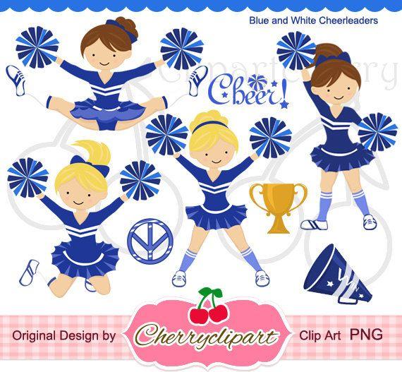 Blue White Cheerleader Digital Clipart Set For Personal And Etsy Clip Art Digital Clip Art Set Digital Clip Art