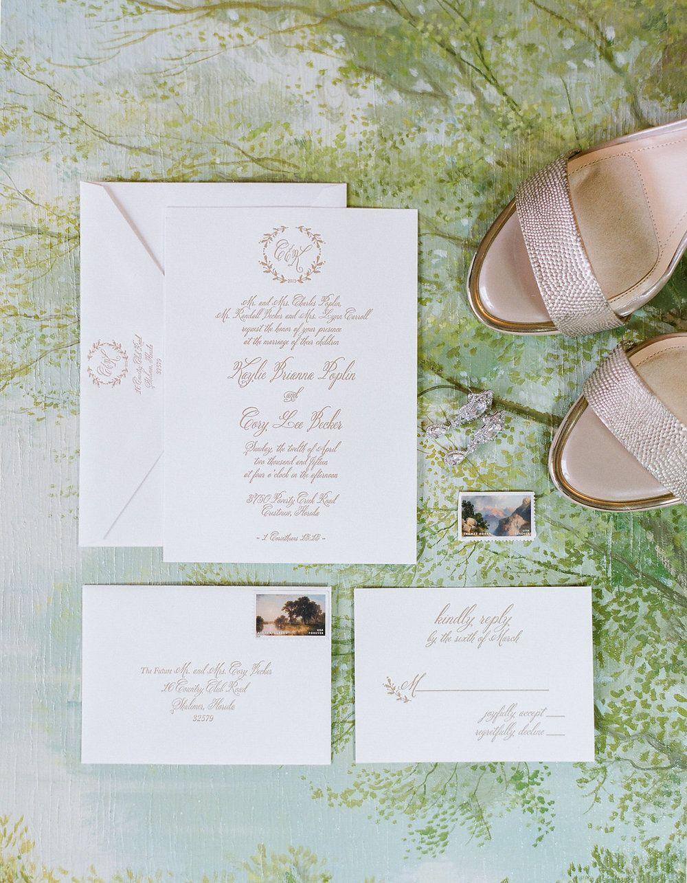 Matte gold letterpress wedding invitation | Jennifer Blair ...