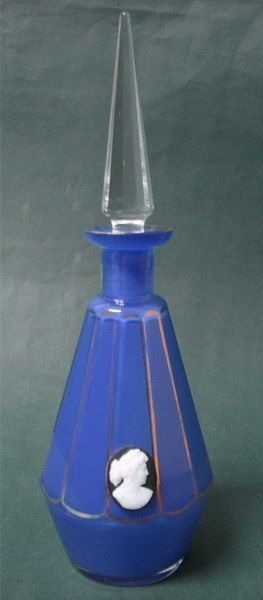 Antique Bohemia Blue Encased Glass Perfume Bottle | eBay