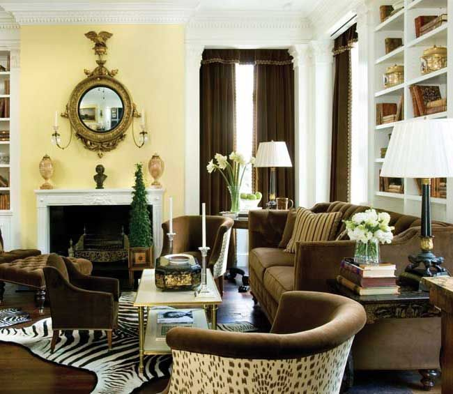 Decorating Traditional Living Room With Leopard Print Rug