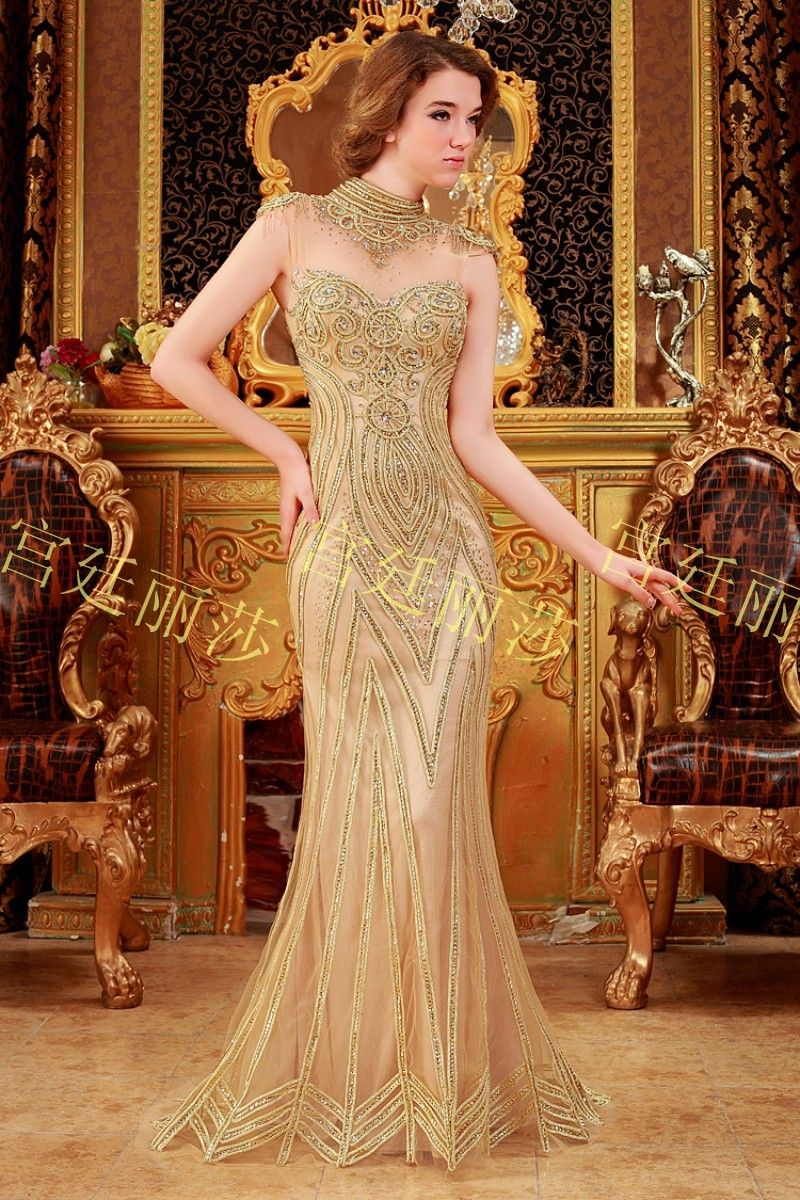 gold sequin wedding dress Luxurious crystal mermaid Evening dress gold sequin formal dress lace beads party dress handmade bridal