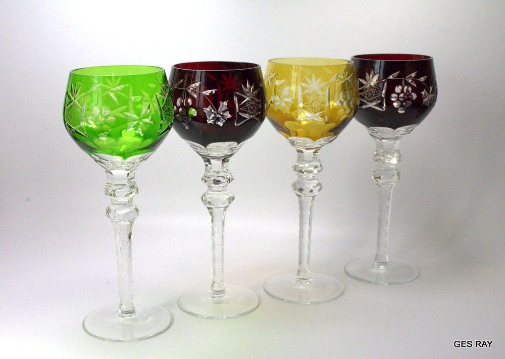 Glass 8.25 Nachtmann Traube Gold Ruby Cased Crystal Wine Hock Goblet