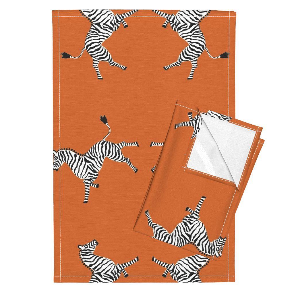 Orpington–Linen Tea Towels (Set of 2) — featuring Zebra Hi5 Orange by ––…