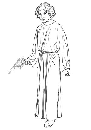 Princess Leia Coloring Page Supercoloring Com Princess Coloring Pages Star Wars Colors Princess Coloring