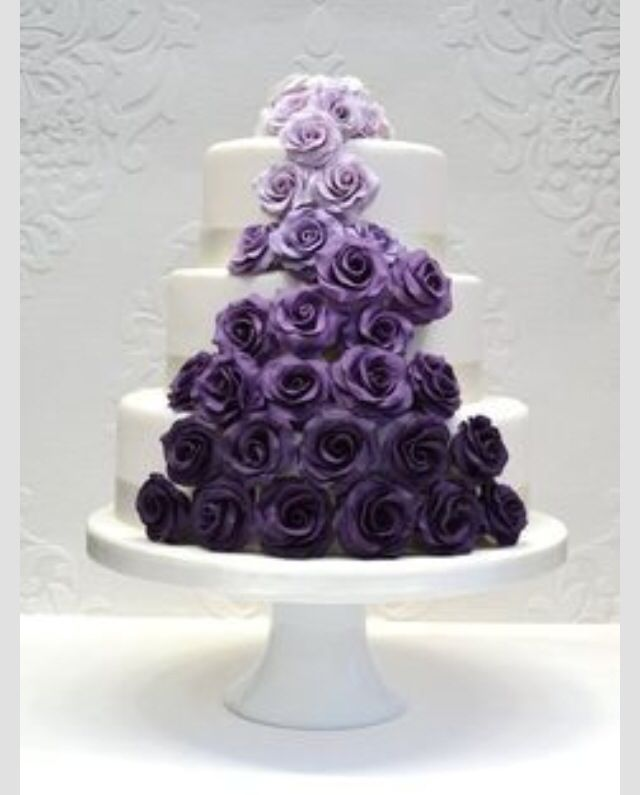 Purple Roses On A Wedding Cake