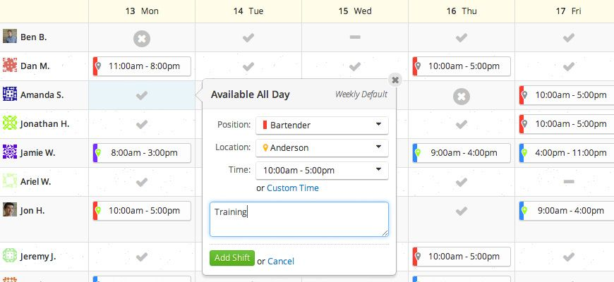 Work Schedule Maker - ZoomShift UI design Pinterest Schedule - work schedule