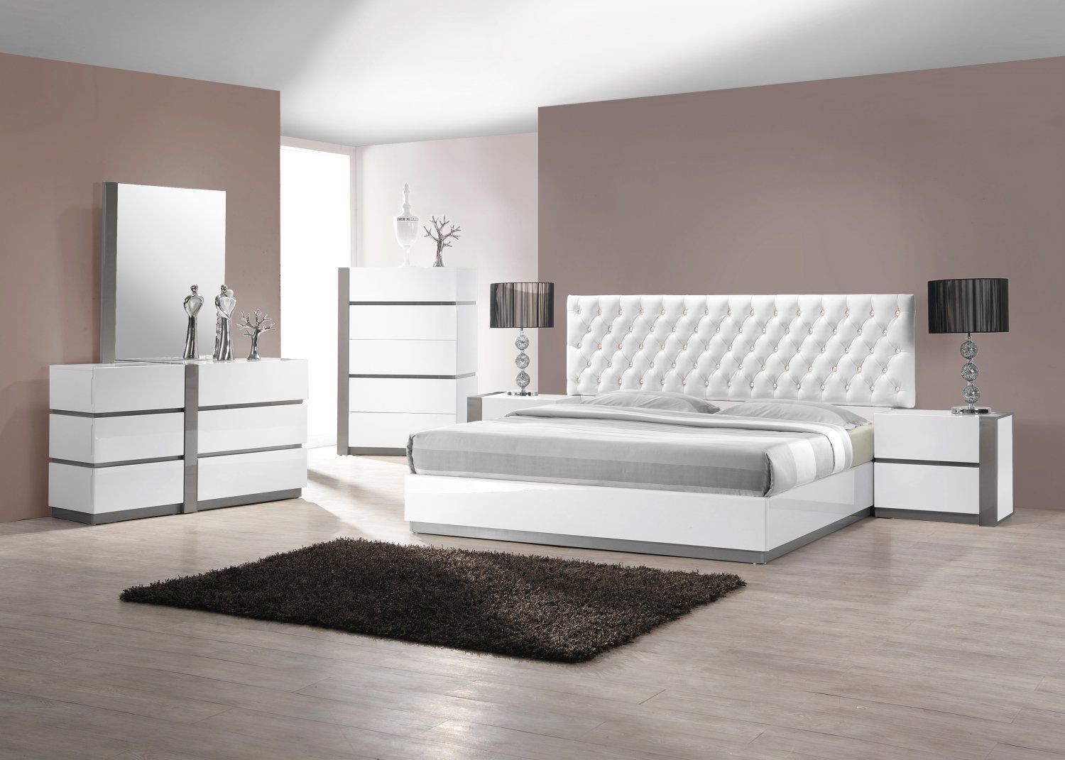 Seville 5 Pcs Cal King Bedroom Set Collection W Leather Like Headboard Modern White Bedroom Bedroom Sets Queen Bedroom Furniture Design