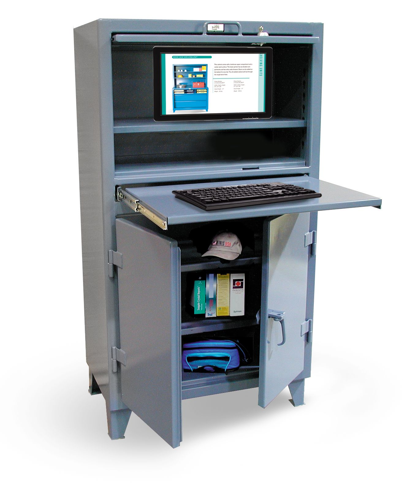 Deluxe Computer Cabinet   Computer Cabinet With Lift Up Lid, Slide Out  Keyboard Shelf And Lower Compartment. Top Compartment Is Lockable With A  Key And ...