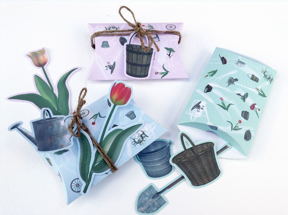 Floral fresh garden tools pillow box, DIY printable gift package pastel colors with shovel bucket basket tulip watering can gift tags 2.pdf by FredaFprintables on Etsy