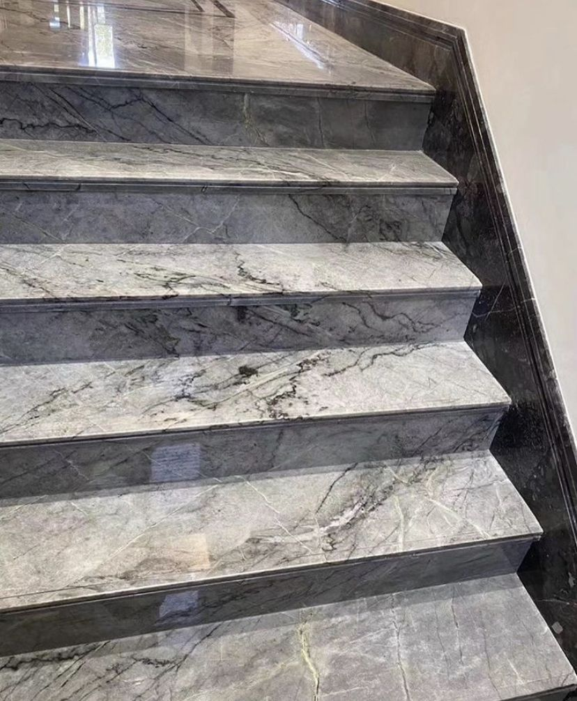 Grey Marble Staircase In 2020 Marble Staircase Stairway Design Italian Marble
