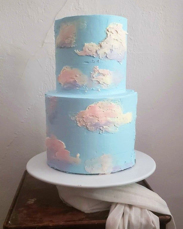 Photo of Buttercream clouds elopement cake!